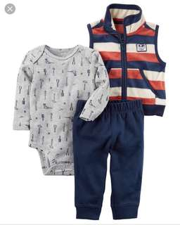 *6M* Brand New Carter's 3-Piece Little Vest Set For Baby Boy