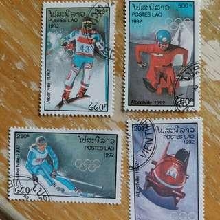 老撾郵票1992年冬季奥運動会已銷郵票4枚