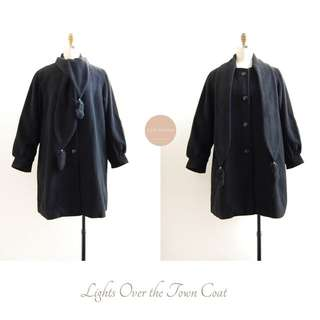 Lights Over the Town Coat   japanese vintage   black fox fur tail wool coat