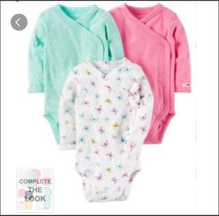 *3M* BN Carter's 3-Pack Side Snap Bodysuits For Baby Girl