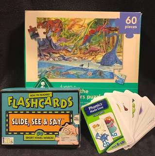 Big pieces puzzles , Flash cards 3 letters words and Phonic cards