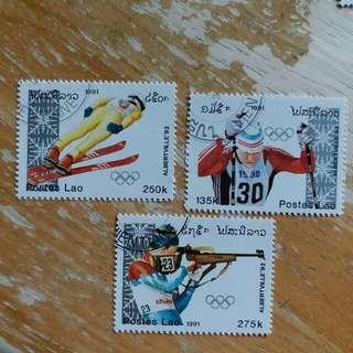 老撾郵票1991年冬季奥運動会已銷郵票3枚