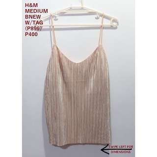 H&M Cream Pleated Spaghetti Top