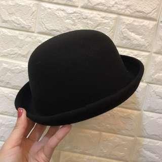 全新 黑色毛料小圓帽紳士帽