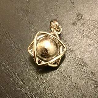 Meteorite Pendant Star of David Tetrehedron 8mm Sphere (Silver)