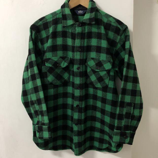 美國製80年代 woolrich 綠格毛料襯衫