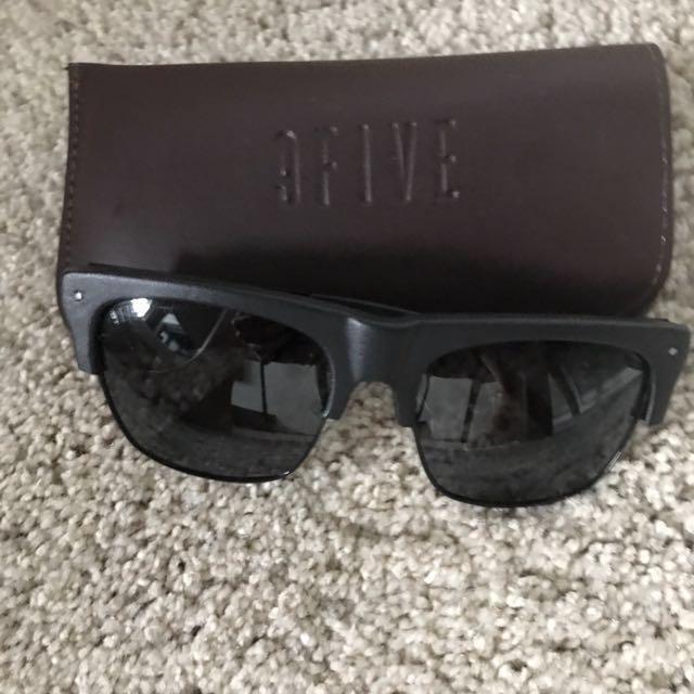 7a145c9cff 9FIVE JS Blackout Leather Sunglasses
