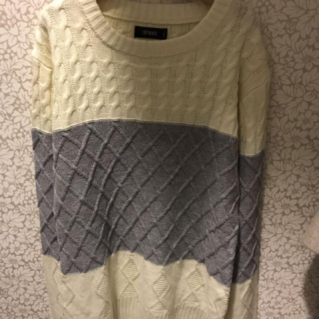 日牌針織拼色毛衣