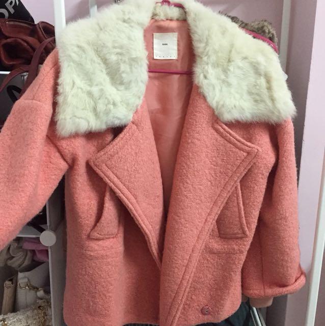 韓國購入》粉紅外套 兔毛繭型時尚