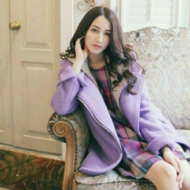 #新春八折 紫色針織外套(帽可拆)