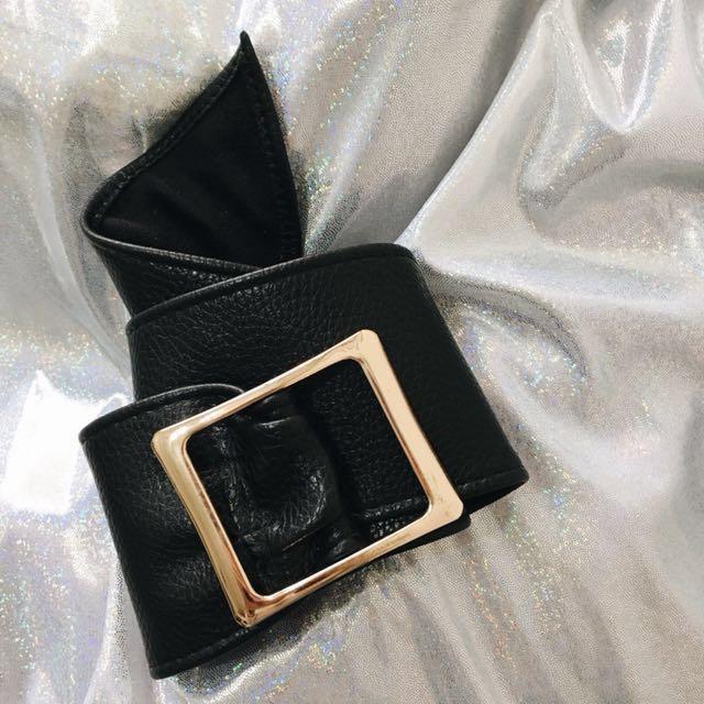 霸氣腰封 皮帶 復古風格 金扣腰封 方釦環 金色釦環 造型皮帶 寬皮帶