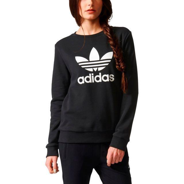 全新 正版 正品 正貨 adidas 愛迪達 經典款 logo 大學T 黑色 運動風 運動服 經典