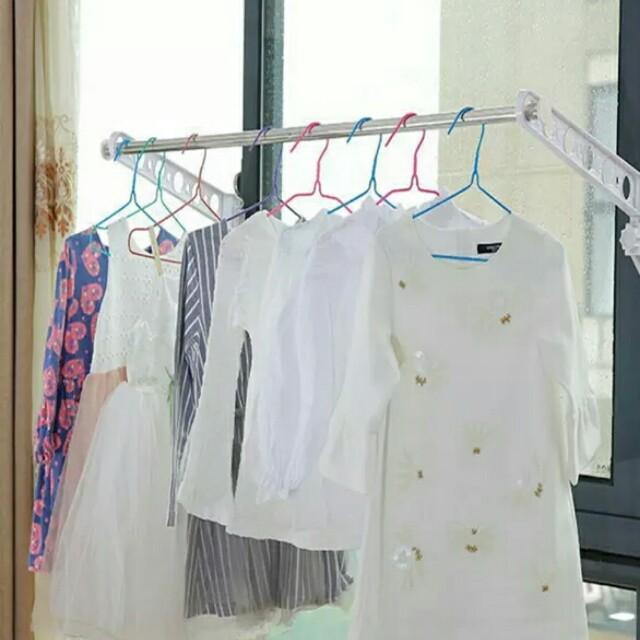 窗框掛衣架子 白色一組/L款 一組兩個