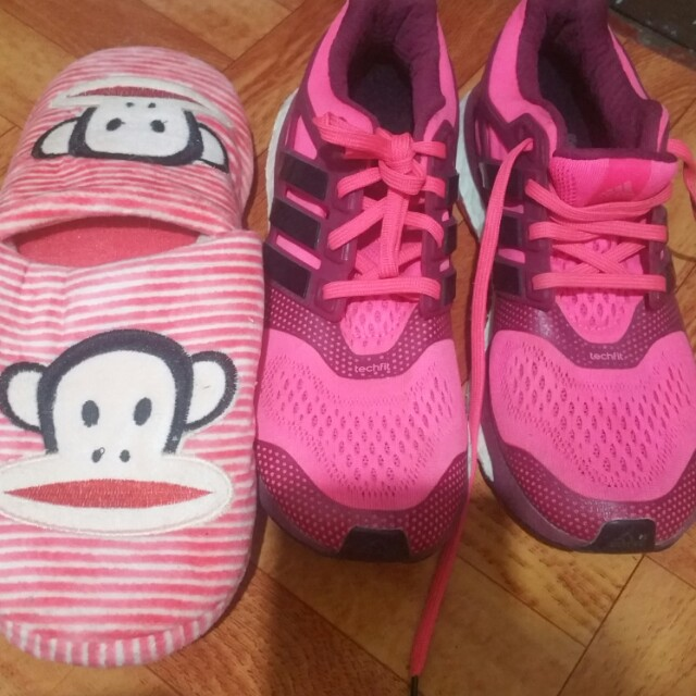 Adidas boost pink running shoes +bedroom slippers