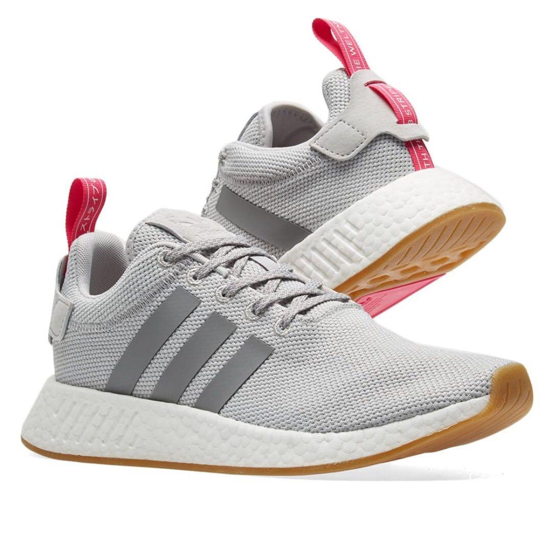 adidas nmd r2 w uk 7 (grey & shock rosa).originale