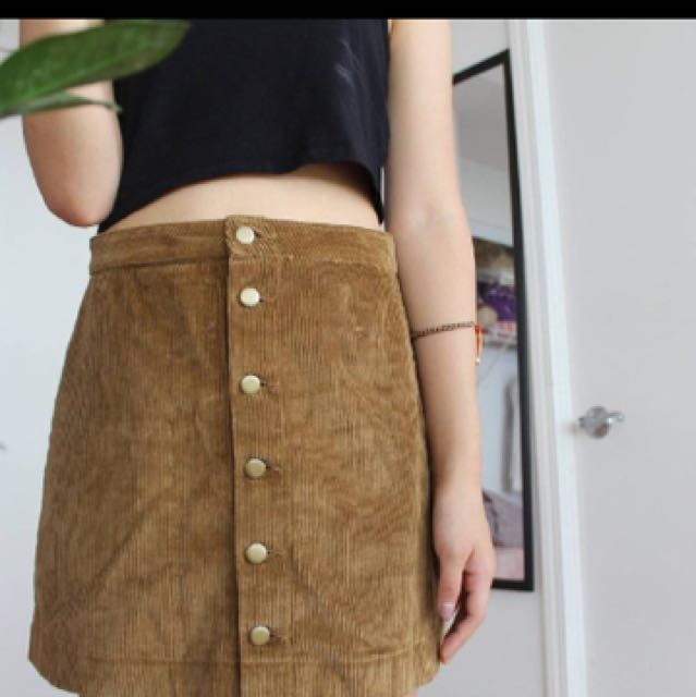 American Apparel Brown Corduroy Button Skirt