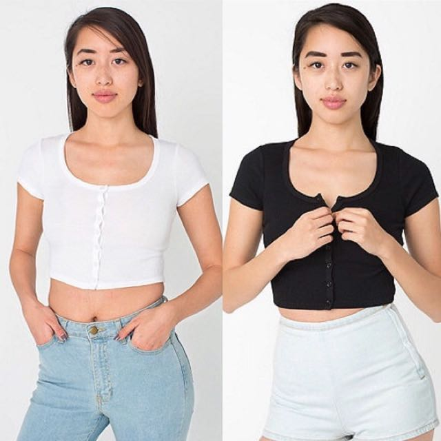 American Apparel Button Up White Cropped Top