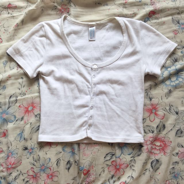 American Apparel White Button Up Crop Top