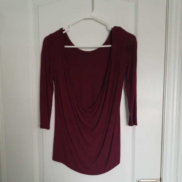 Backless wine red top