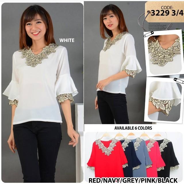 Baju atasan warna putih model korea