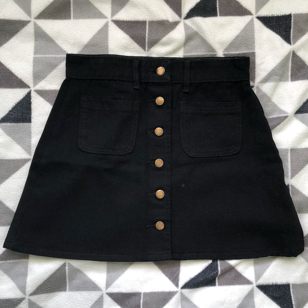 Black button down A line skirt