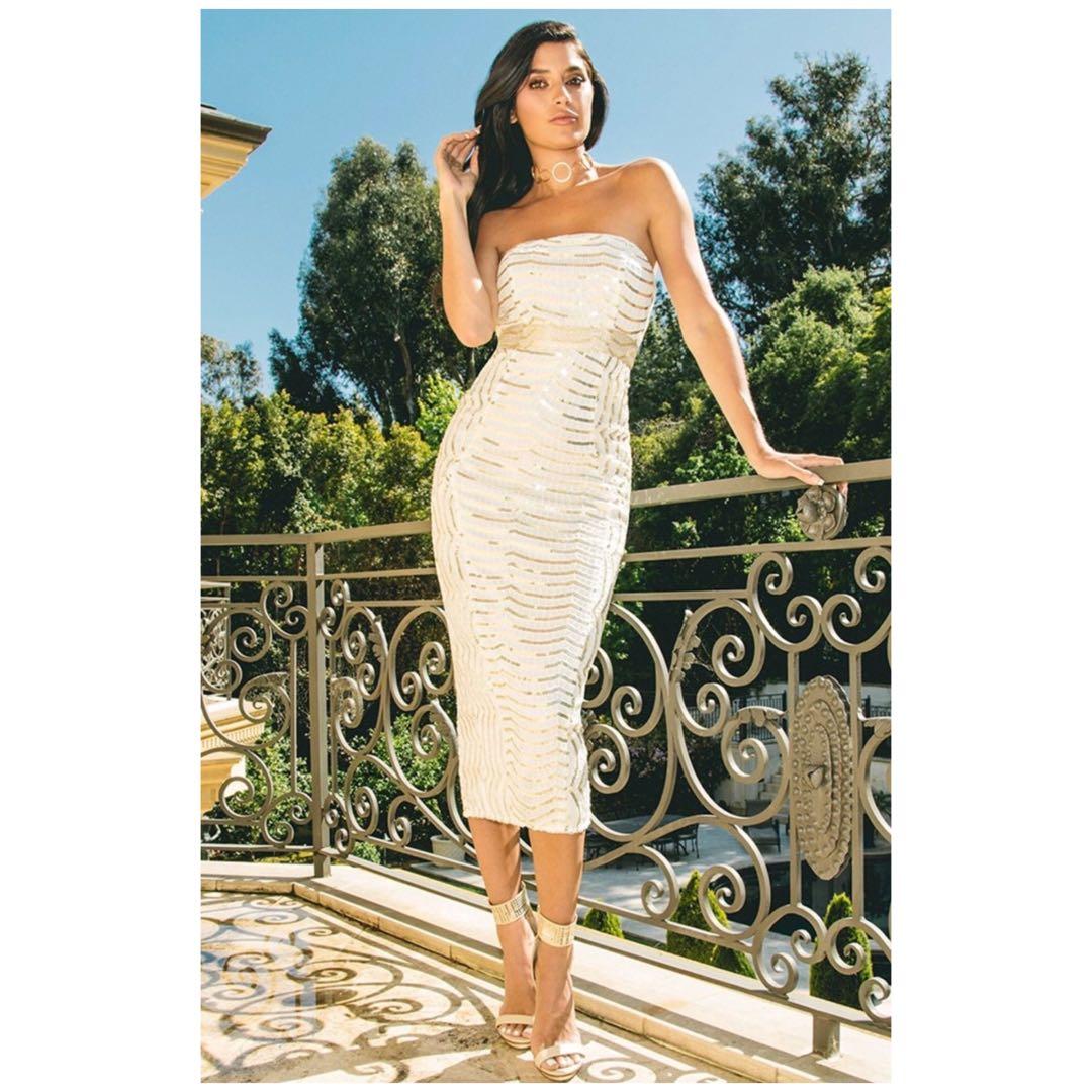 Brand new premium bandeau midaxi sequin dress