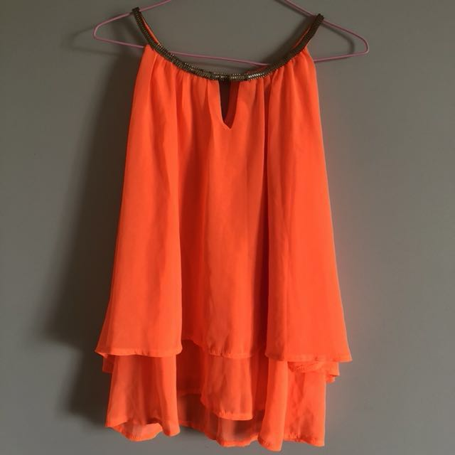 Bright orange sequinned chiffon top (size 8)