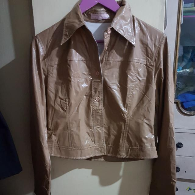 Brown Synthetic Leather Jacket
