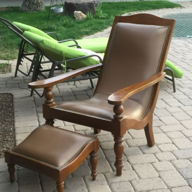Carmel Leather Unique Chair and Stool