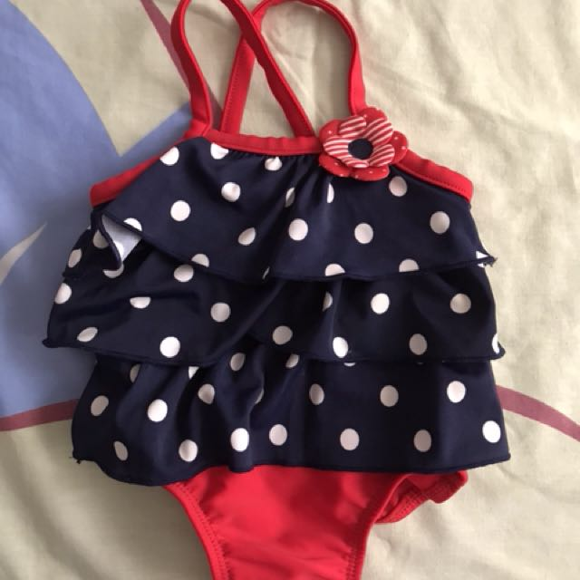 Carter's red polka swimsuit 3months