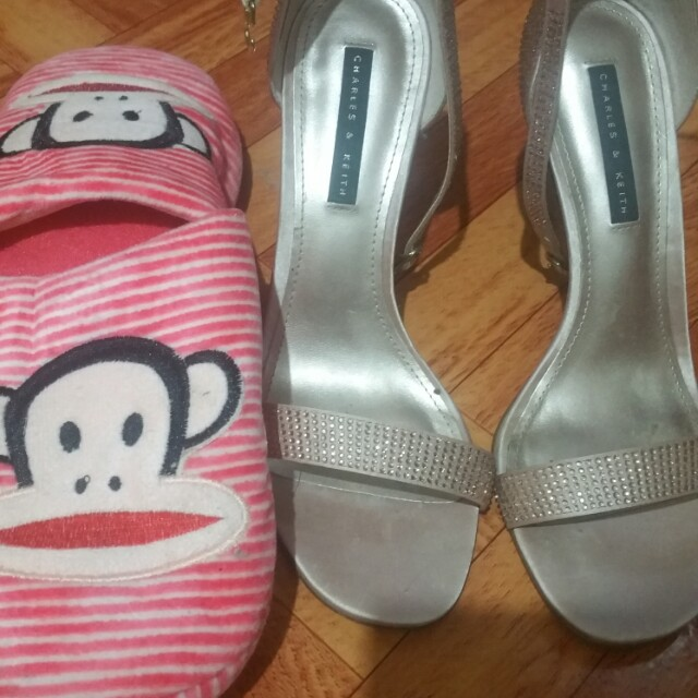 Charles and Keith stiletto sandals +bedroom slipper bundle