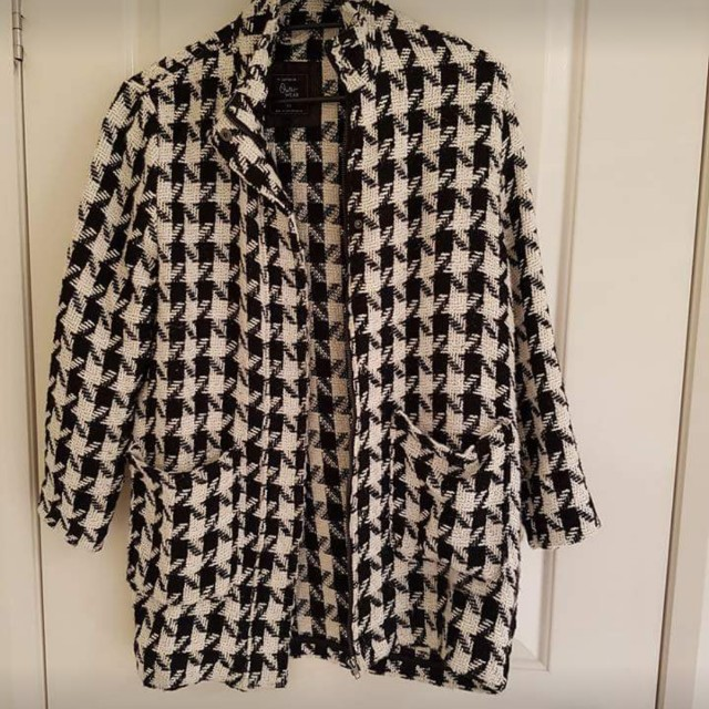 Cotton on checkered black and white coat