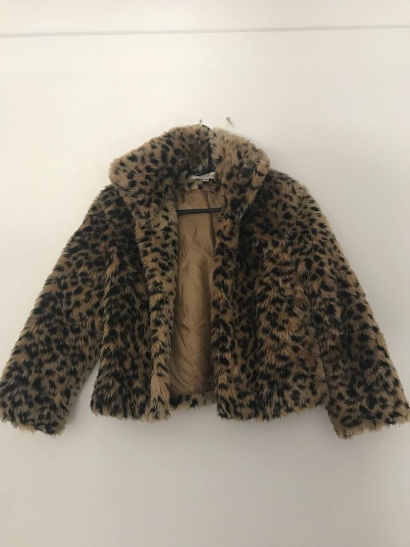 Cute furry leopard print jacket
