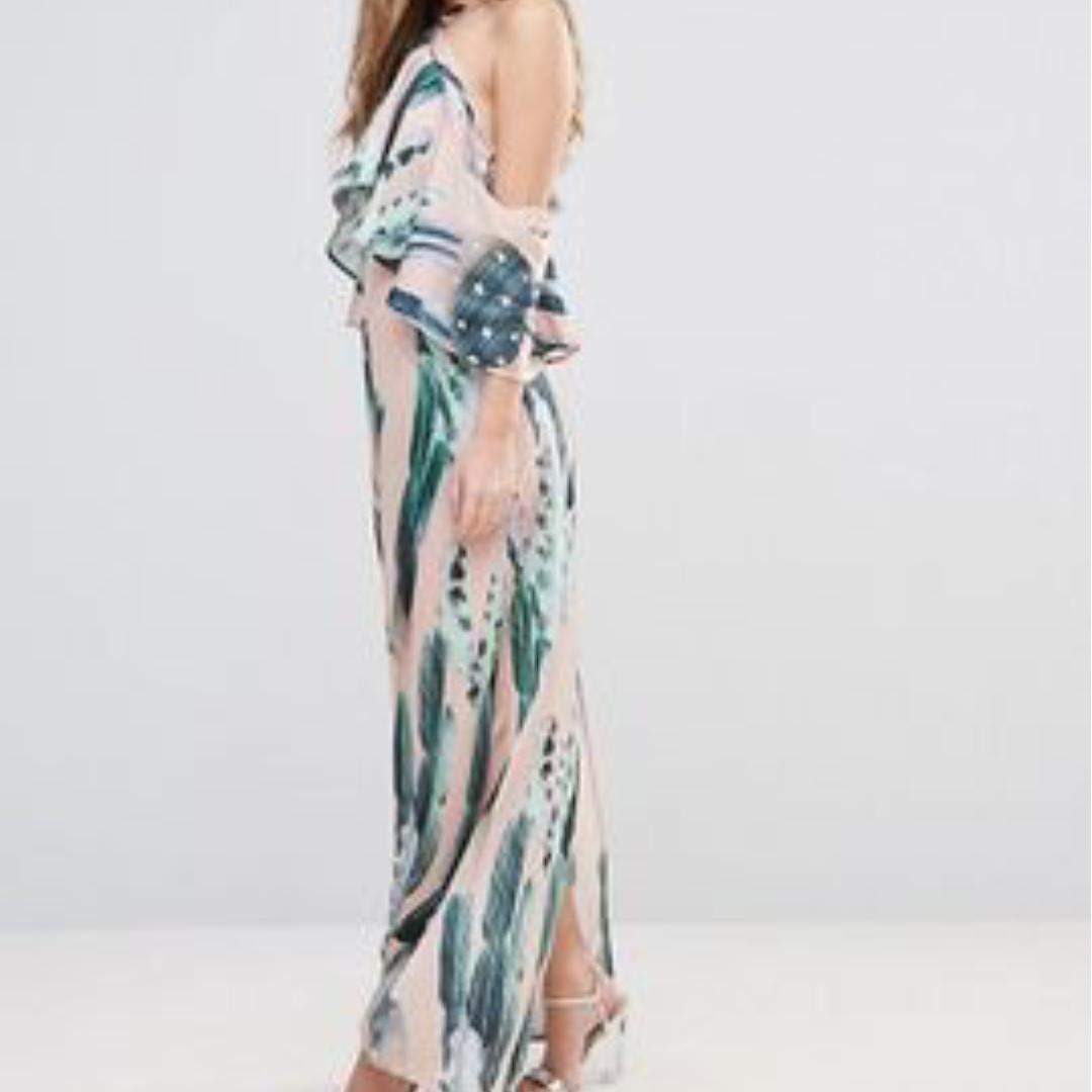 Cactus Print Halterneck Maxi Dress With Ruffle - Size US 10