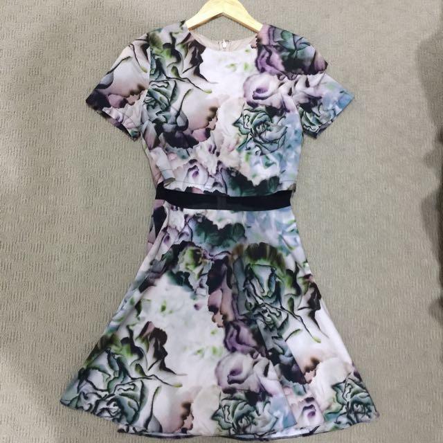 Floral Dress with mesh waist