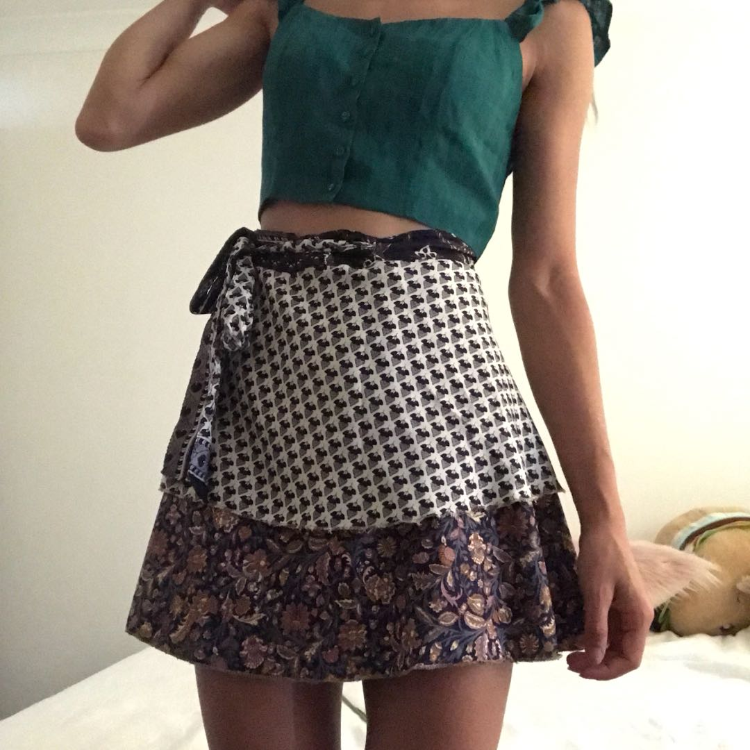Floral two-tier skirt