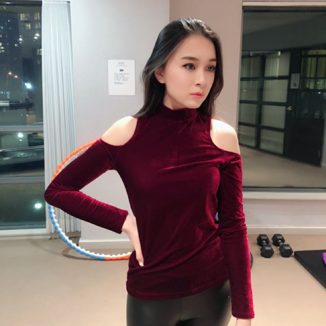 Forever 21 Red Velvet cutout shoulder Top