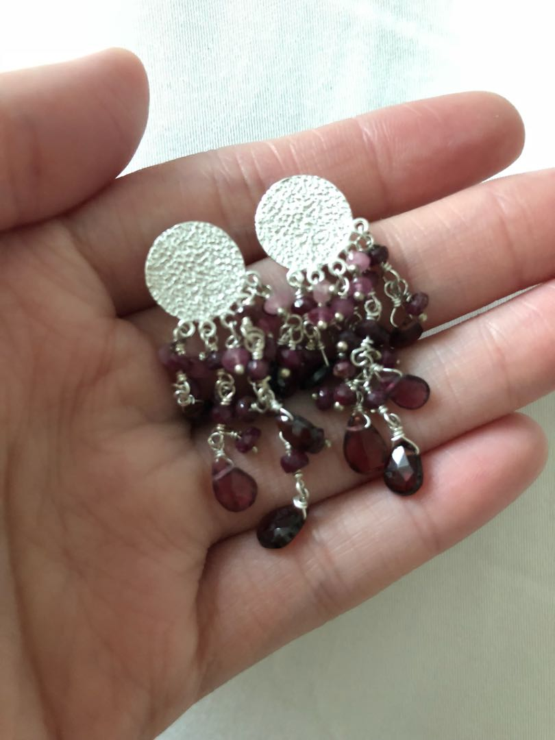 Garnet Stone Dangling Silver earrings