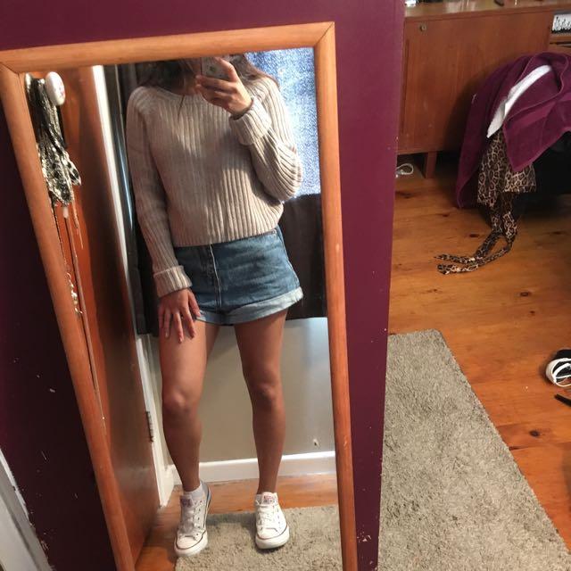 grey knitted crop jumper