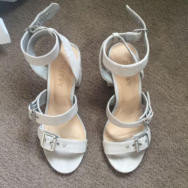 Grey Suede buckle heels 6