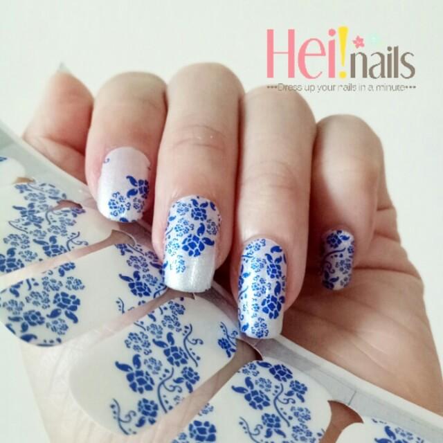 Heinails nailsticker / stiker kuku blue flower ornament
