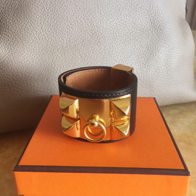 Herme's 二手黑色金扣cdc手環S號
