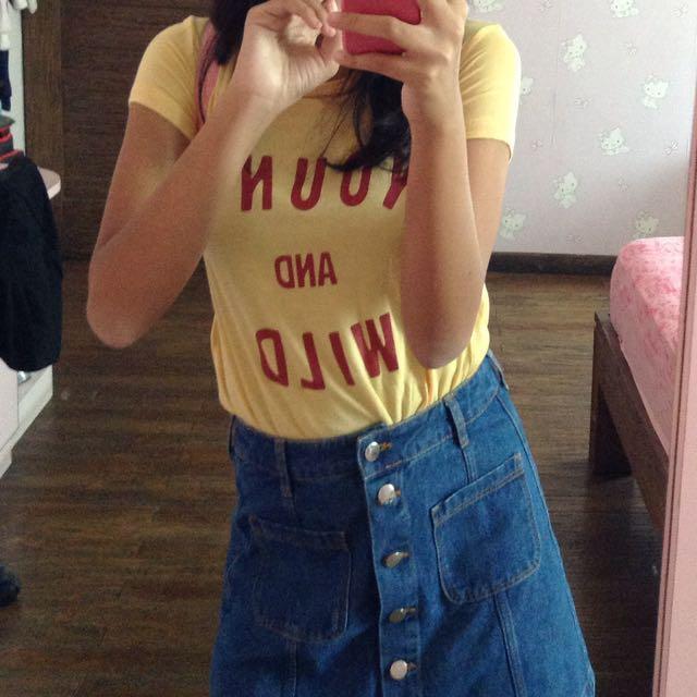h&m yellow tshirt