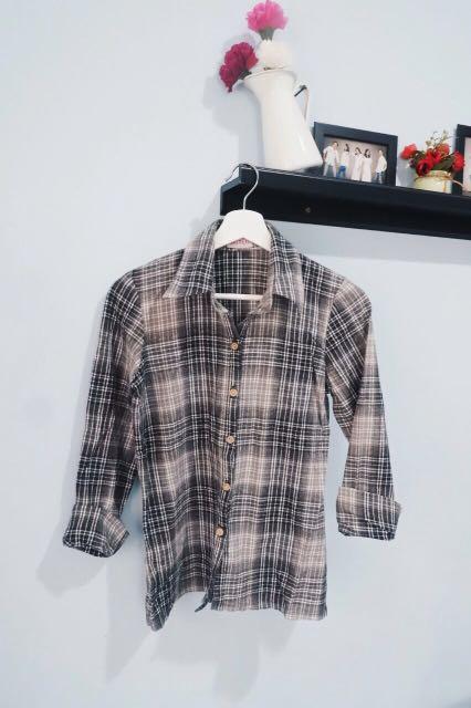 Kemeja flannel grey black