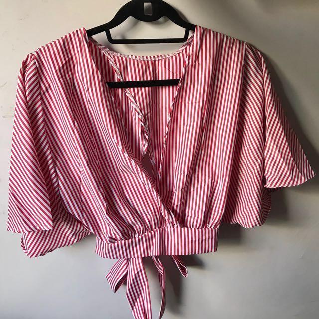 Korean Striped Crop Top