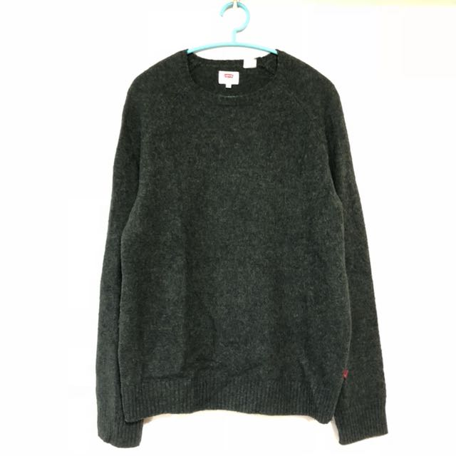Levi's 秋冬長袖毛衣 levis wool knit jumper深綠 2月