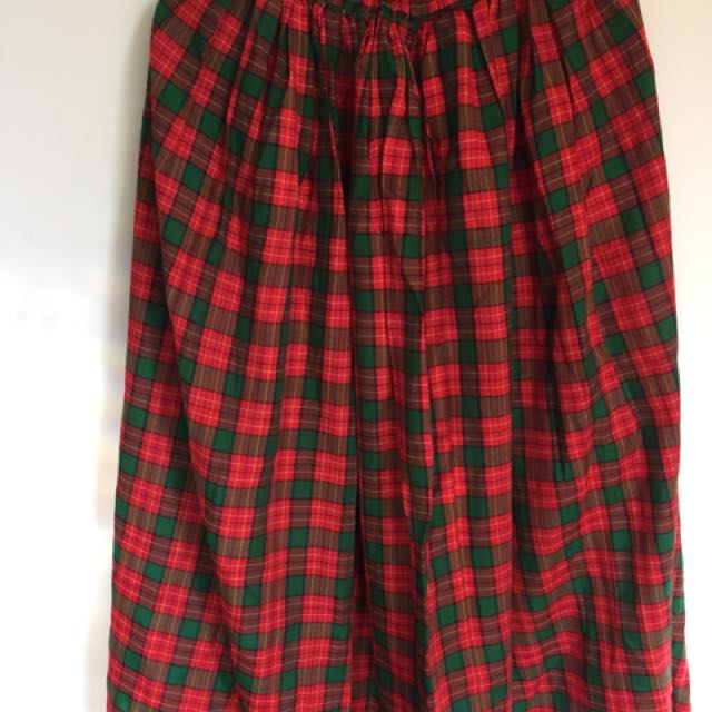 Long plaid red and green skirt