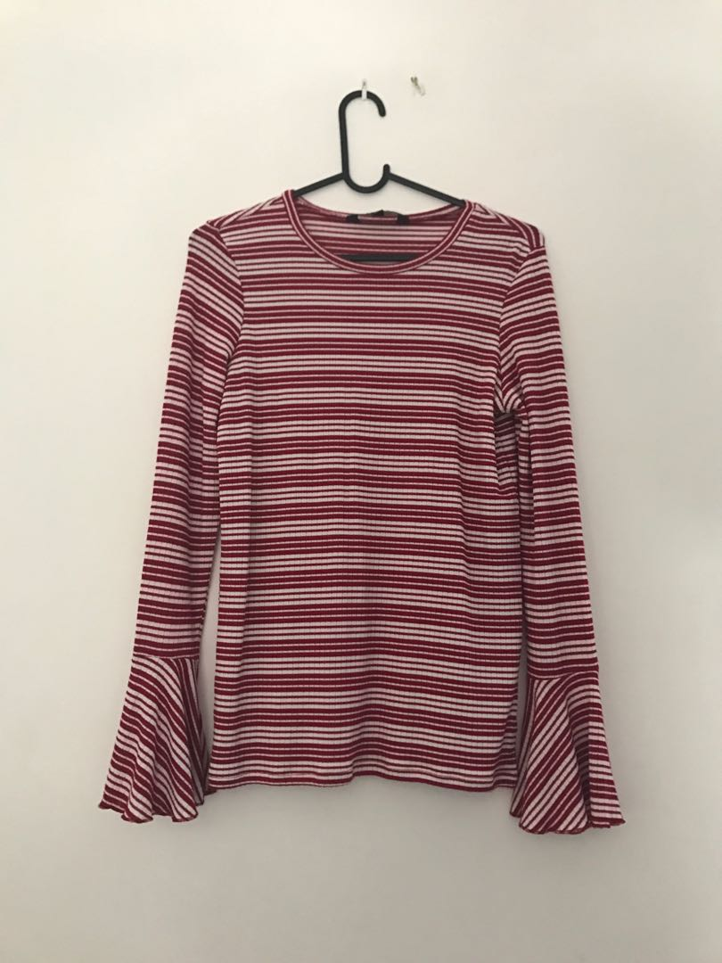 Long sleeve flared red stripy top