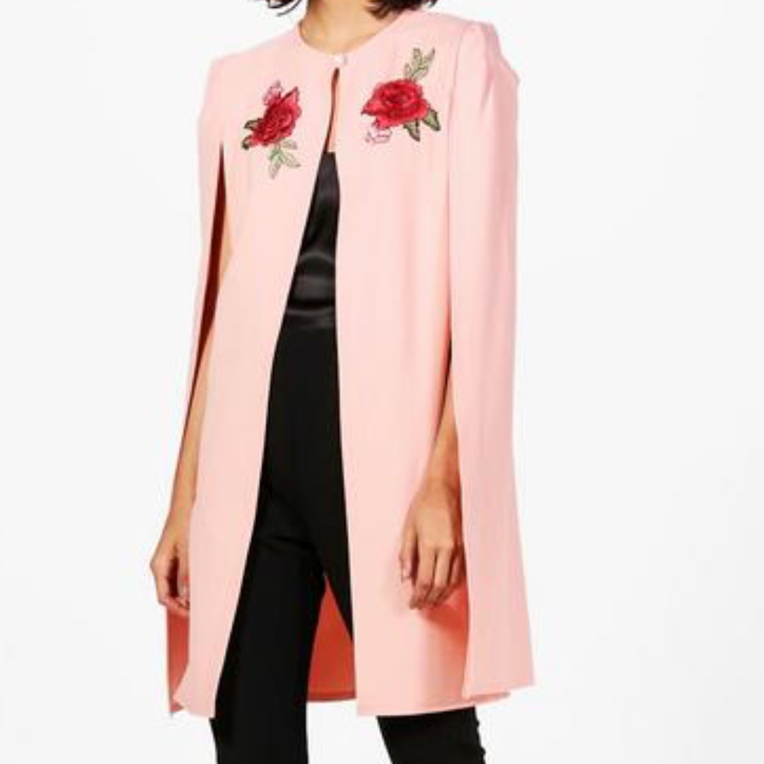 Longline Embroidered Cape Jacket - Size 6 (New Condition)
