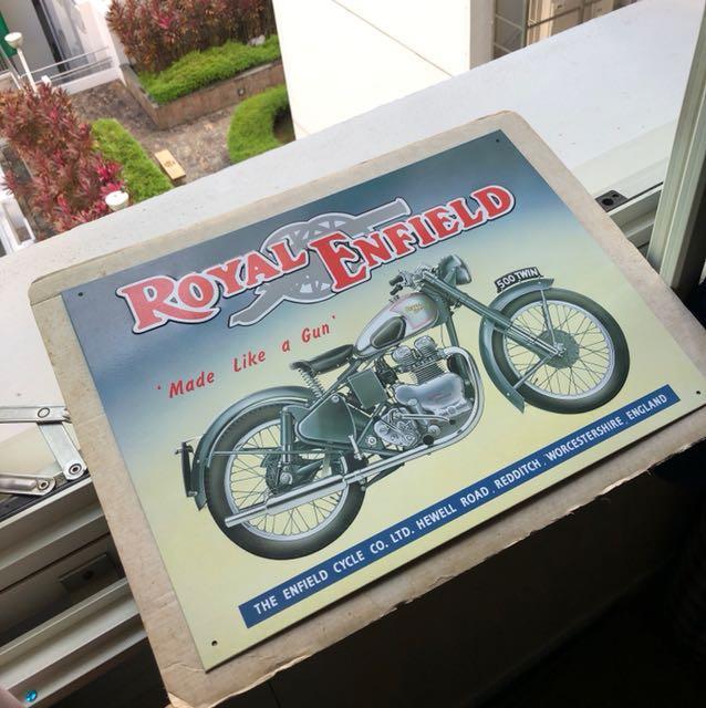 Metal Plate Tin Poster: Royal Enfield Motorcycle